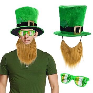 54beff320bd7 Howaf San Patricio Accesorios Set trébol Verde Sombrero Disfraz con Barba