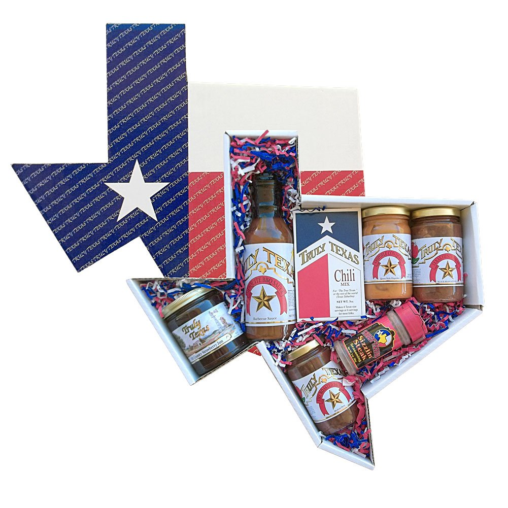 Truly Texas Big Tex Jelly, Barbecue, and Salsa Gift Set in State Shaped Box