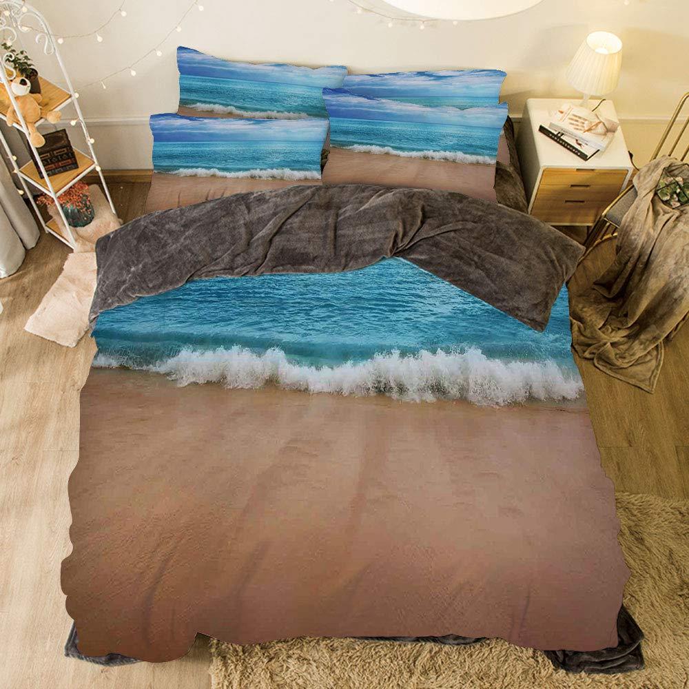 iPrint フランネル布団カバー4点セット ベッドリネン 冬休み柄 海の装飾 深海 水中 ペブリーサンディ 混合底面 表面からサンビーム付き bed width 6.6ft(200cm) BotFLR_Hei_14813_2mCalif king B07LCPV2S1 カラー13(color) bed width 6.6ft(200cm)