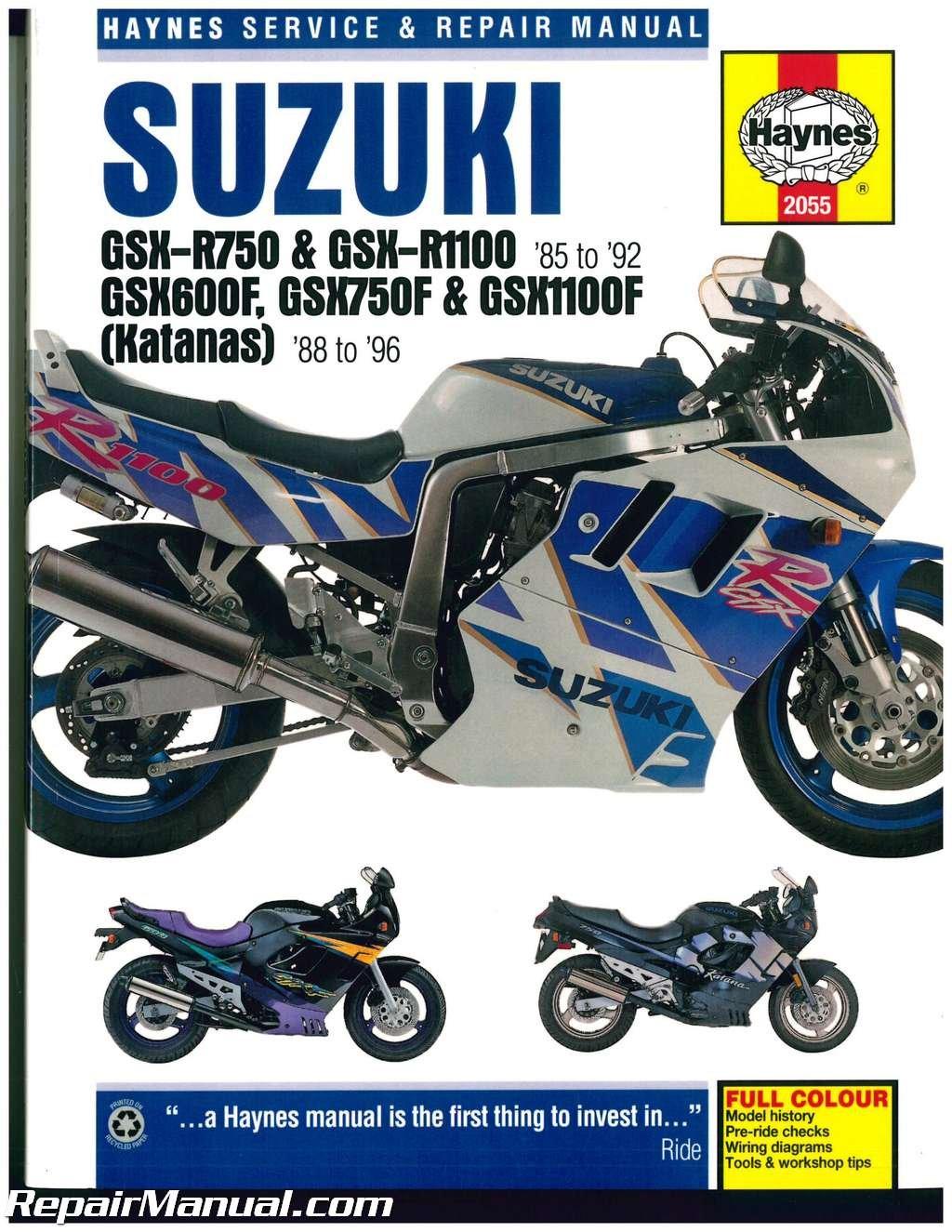h2055 haynes suzuki gsx-r 750, gsx-r 1100 1985-1992 katana 600 750 1100  1988-1996 motorcycle repair manual paperback – 2004