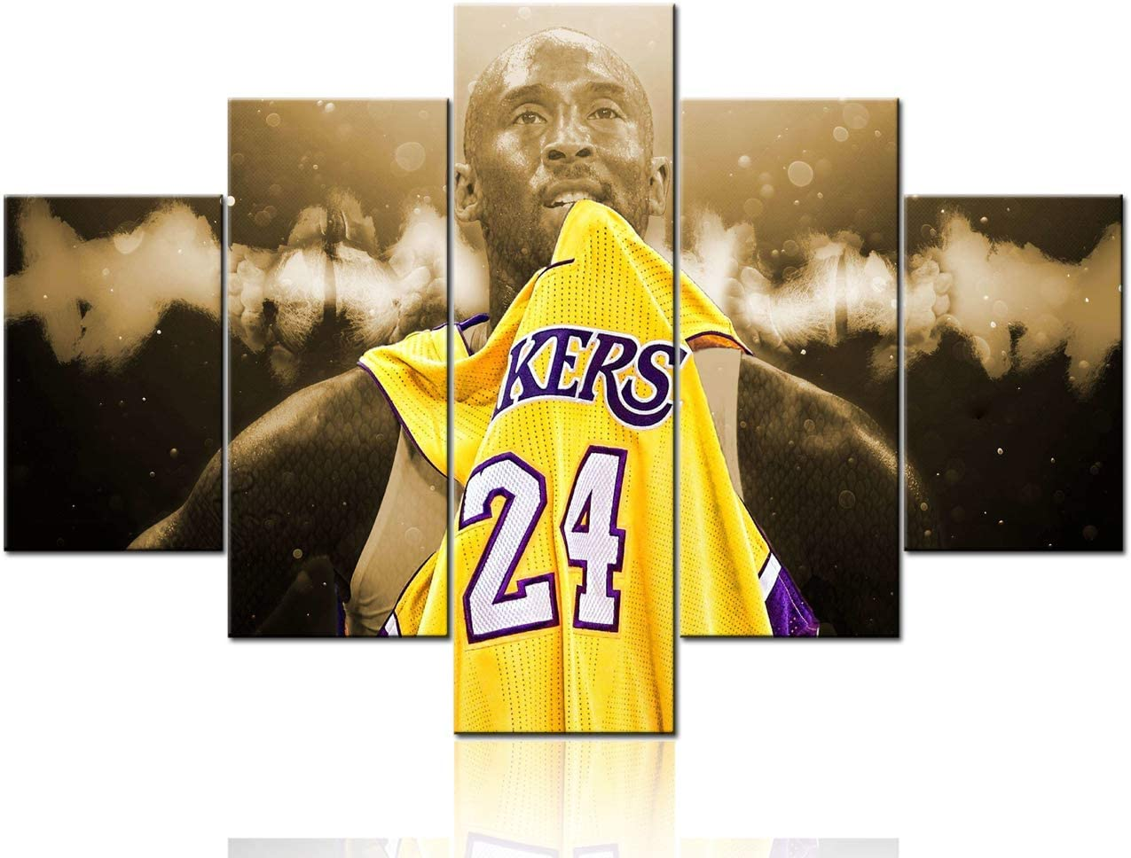 5 Piece Canvas Wall Art Sports Los Angeles Lakers Paintings Home Decor Basketball Prints on Canvas Kobe Bryant Modern Artwork Picture for Living Room Framed Stretched Ready to Hang - 60''Wx40''H