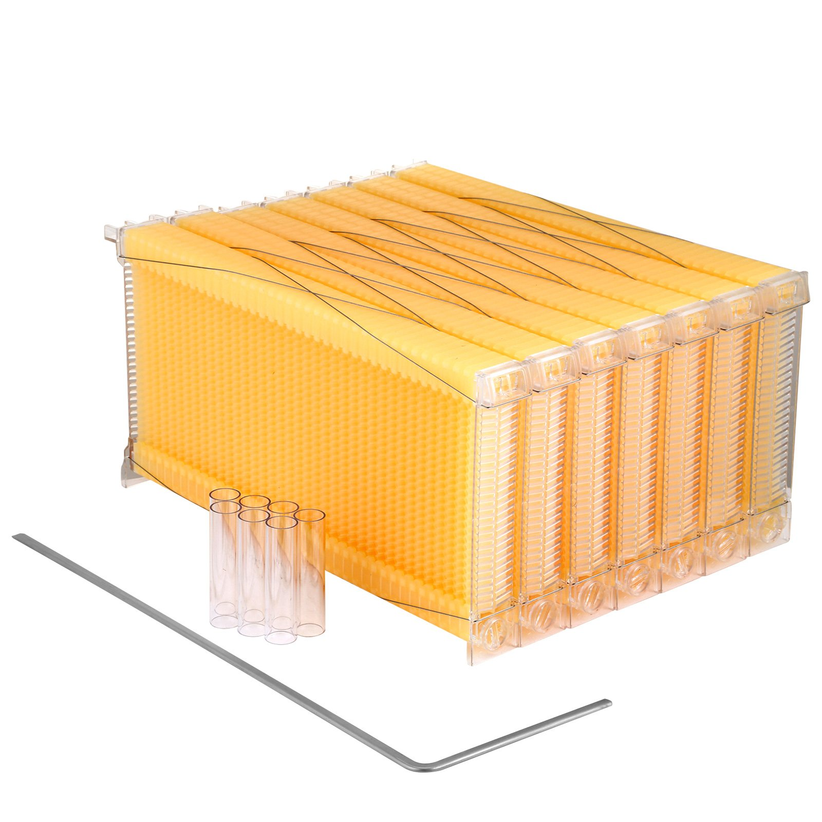VEVOR 7Pcs Auto Flow Bee Comb Beehive Frames Auto Flow Honey Plastic Flow Honey Beekeeping Beehive with 7 Harvest Tubes and a Harvest Key(Auto Flow without Frame House)