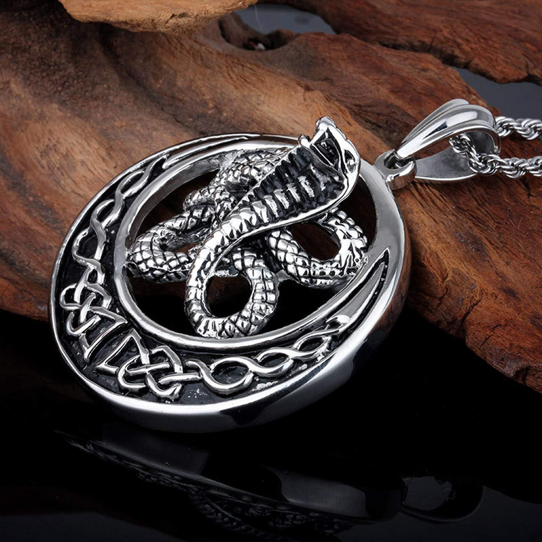 FJ Collier pendentif Cobra serpent 3D grand noeud celtique pour homme en acier inoxydable nouvelle lune