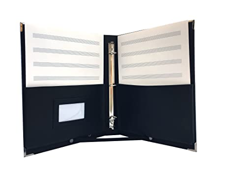 MSP 2 in 1 Large Music Folder/Choir Fillo with Handle, Detachable Strap,  3-rings binder (Black)