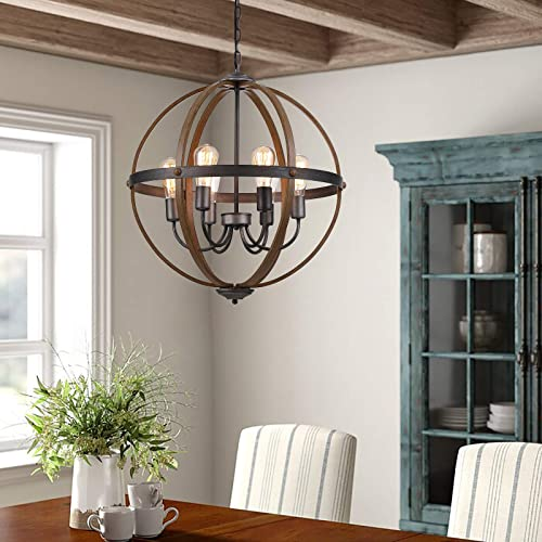 Riomasee Orb Chandeliers 6-Light Rustic Farmhouse Chandelier Lighting Stardust Finish Dining Room Lighting Fixtures Hanging