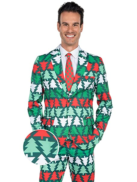 red and green christmas tree suit 44j34w