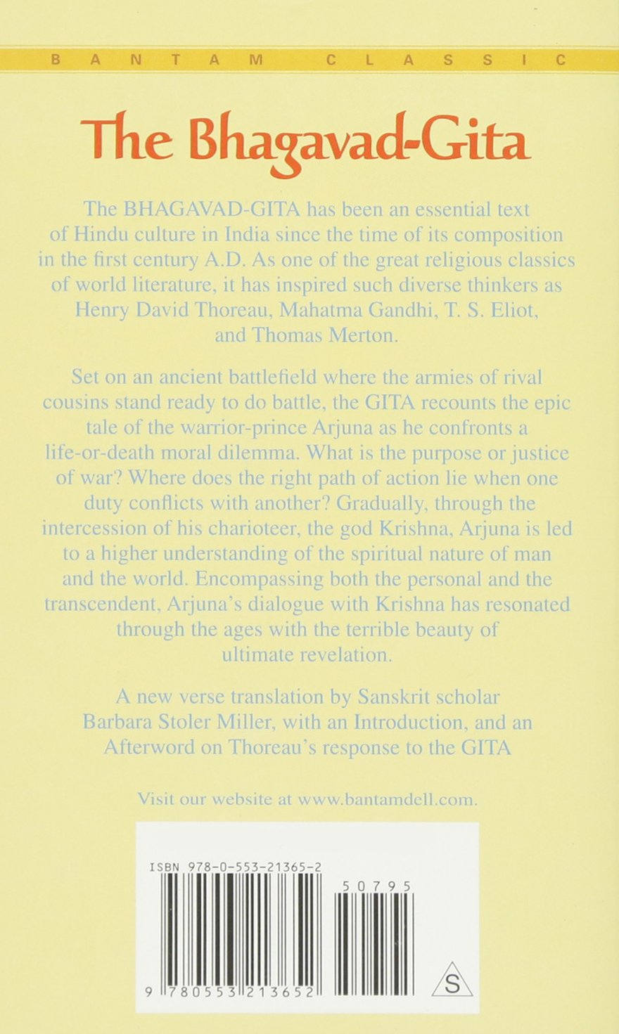 The Bhagavad Gita Krishnas Counsel In Time Of War Bantam