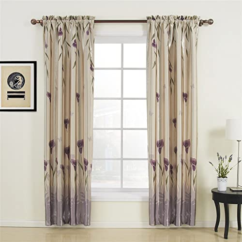 IYUEGO Floral Polyester Purple Blackout Rod Pocket Curtain Drap