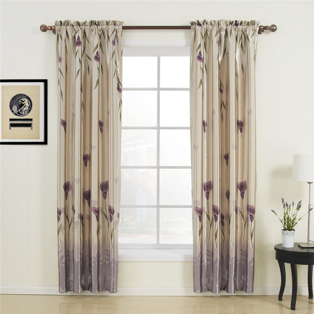 42'' W x 84'' L (One Panel) 20 sizes available Country Rustic Polyester Purple Floral Lining Blackout Curtains Grommet Top Curtains Window Treatment Draperies & Curtains Panels