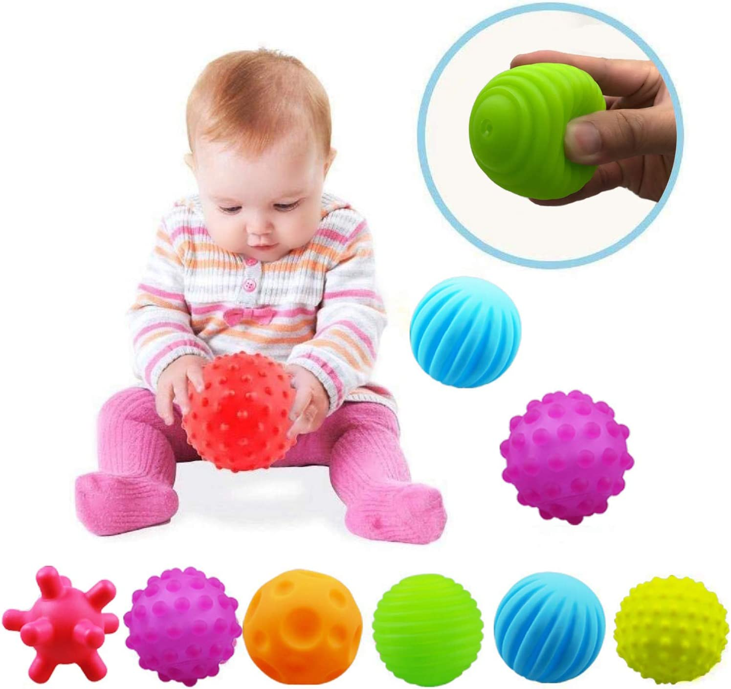 ROHSCE Textured Ball Set Baby, Sensory Balls Kids, Baby Squeeze Balls, Soft Balls Toddler Set of 6 Packs with BB Sounds for Babies Toddlers Children Boys Girls 6+ Months