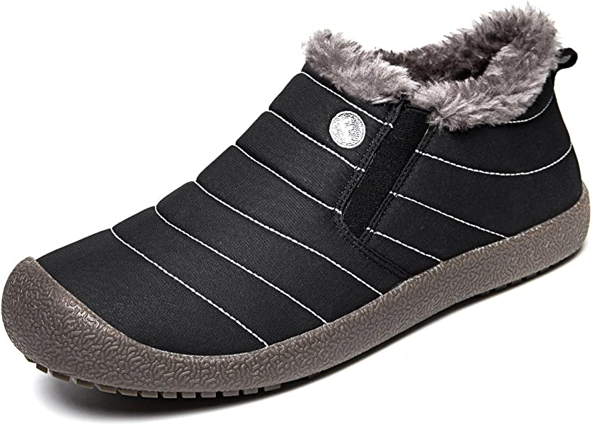 Amazoncom Jackshibo Women Men Fur Lined Slip On Snow Boots