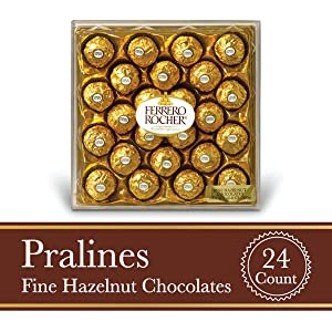 Ferrero Rocher Fine Hazelnut Milk Chocolate, 24 Count, Chocolate Christmas Candy Gift Box, 10.5 oz, Great Stocking Stuffers