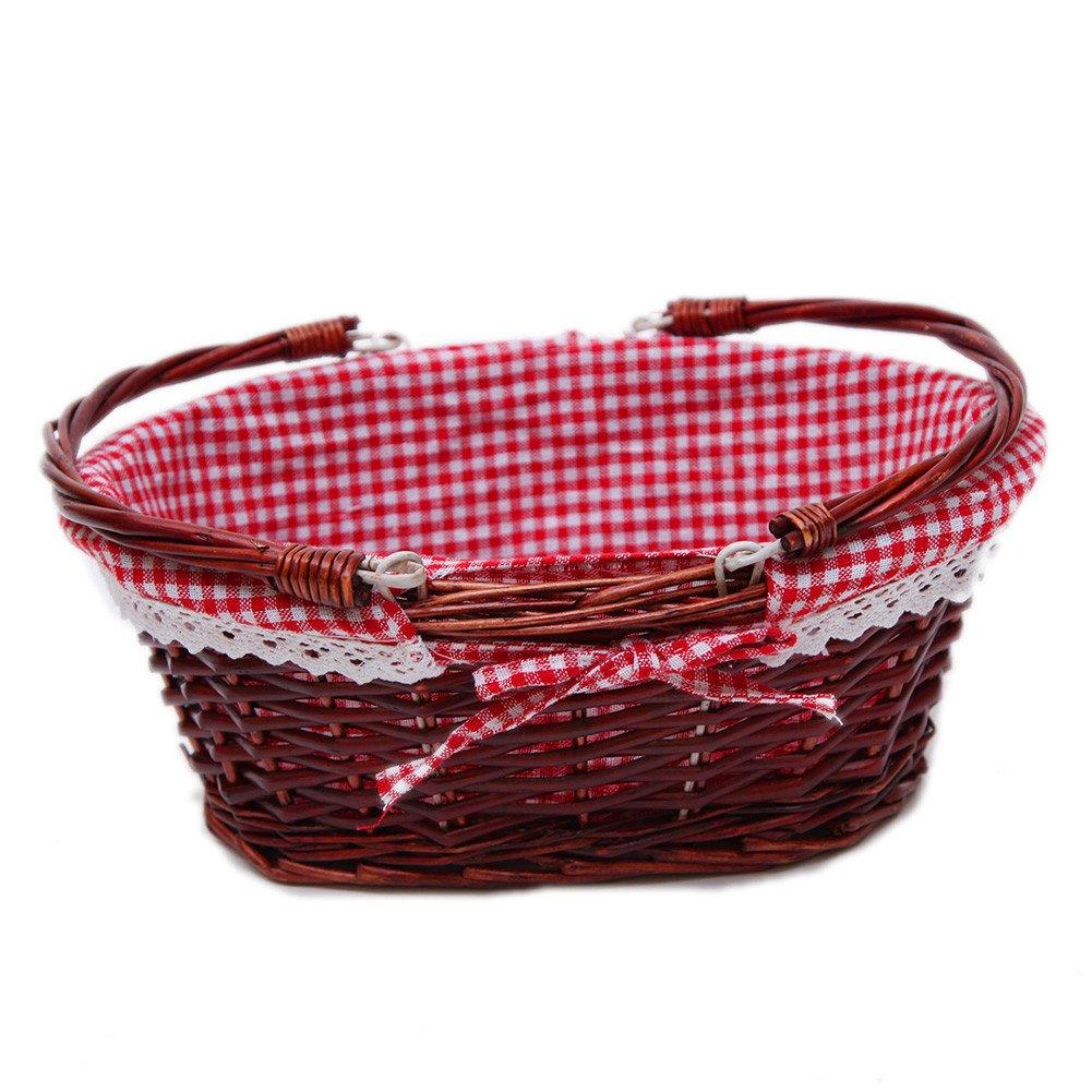 Oypeip Wicker Basket Gift Baskets Empty Oval Willow Woven Picnic Basket Easter Candy Basket Storage Basket Wine Basket with Handle Egg Gathering Wedding Basket (Auburn)