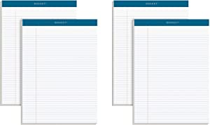 """TOPS Docket Writing Pads, 8-1/2"""" x 11-3/4"""", Narrow Rule, White Paper, 100 Sheets, 4 Pack (99612)"""