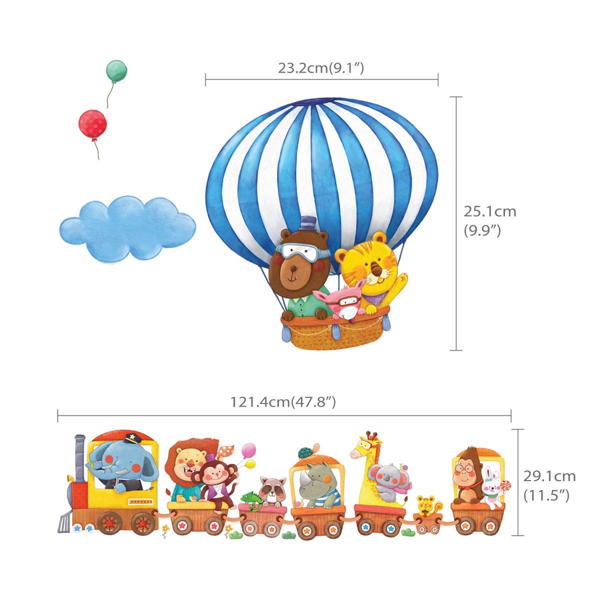 DECOWALL DL-1406L Zug und Hei/ßluftballons Autos Flugzeuge Tiere Wandtattoo Wandsticker Wandaufkleber Wanddeko f/ür Wohnzimmer Schlafzimmer Kinderzimmer Extra Gro/ß