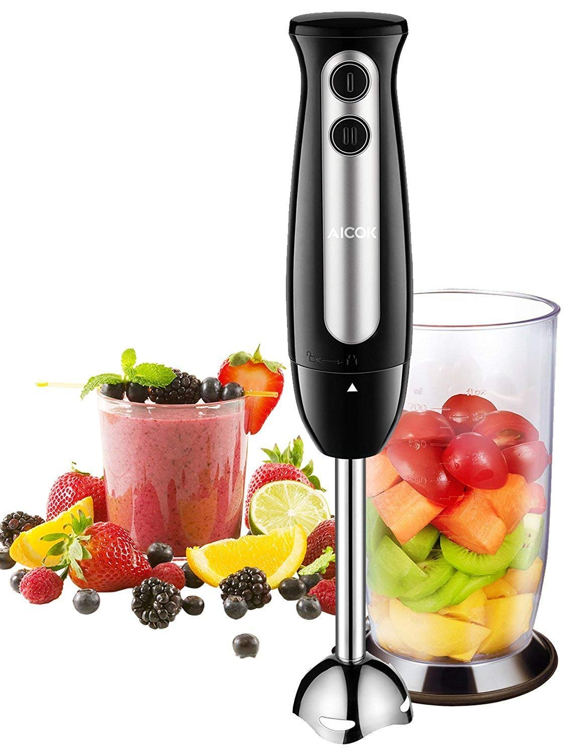 Immersion Blender, Aicok 2-in-1 Hand Blender with 700ml BPA-Free Beaker, 304 Stainless Steel Blades, Ergonomic Handle, 2-Speed Immersion Hand Blender for Baby Food, Juices, Sauces and Soup, 300W