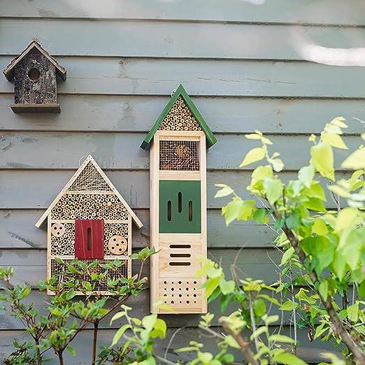 Bels Insect Hotel para jardín, grande, madera para nido de hotel, casa de nido de hotel, jardín, jardín e insectos (verde, 64, 5 x 21 x 12, 5 cm): Amazon.es: Jardín