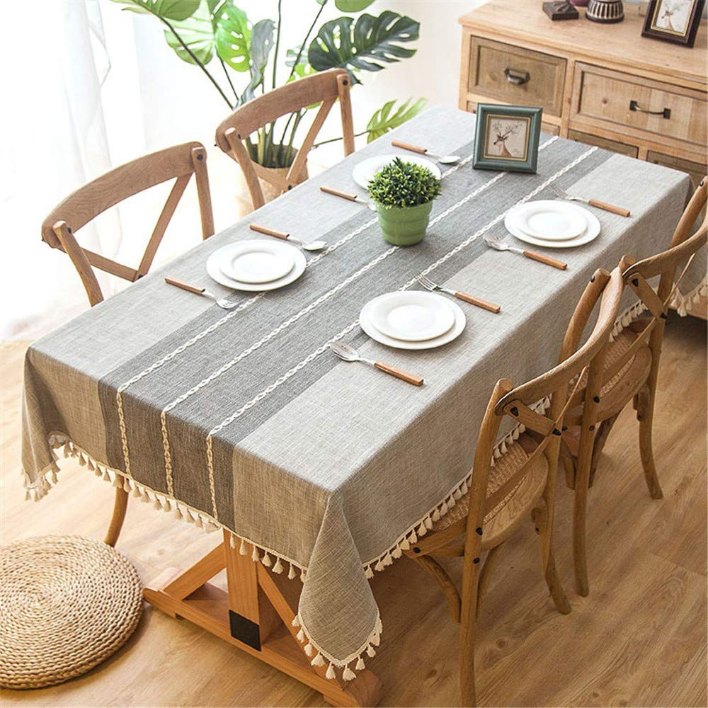 DYEWD Tischdecke,Tischdecke im nordischen Stil, Tischdecke aus Baumwolle und Leinen, Bestickte Tischdecke mit Fransen, rechteckige Tischdecke, Couchtischdecke, 140  250cm B07GL976SM Tischdecken