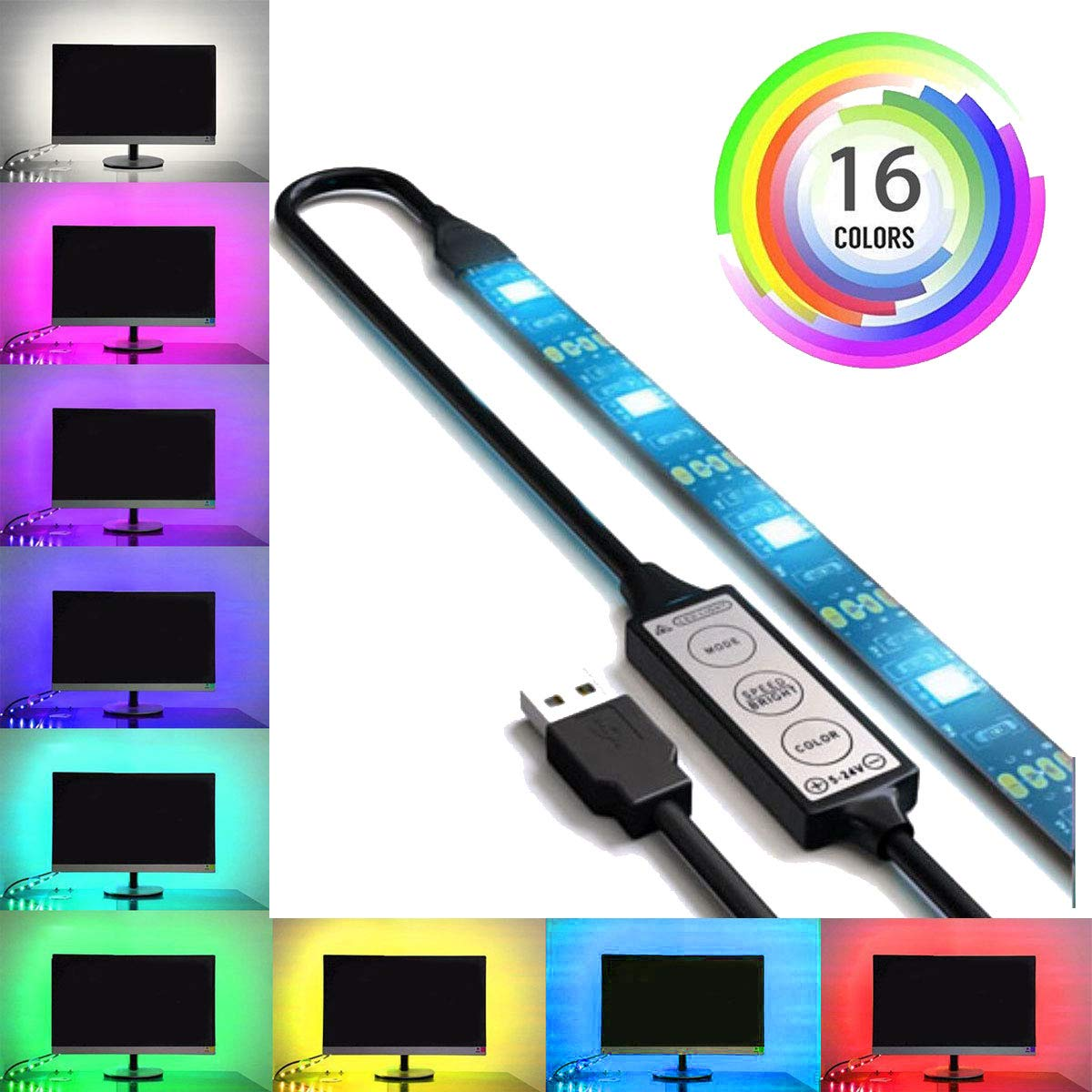 USB LED Lighting Strip for HDTV - Extra Large (158in / 4m) - Multi-Color RGB - USB LED Backlight Strip with Dimmer for Bias Lighting HDTV, Flat Screen TV LCD, Desktop Monitors, Kitchen Cabinets… by SPE (Image #1)