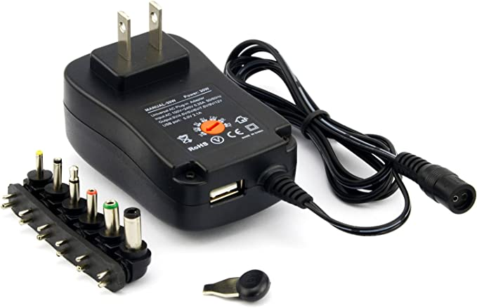Suitable for 3V-12V Home Electronic Devices Universal AC//DC Adapter Switching Power Supply Rocketek Universal Adapter 30 W Tablet Computers LCD LED Chargers with 8 Tips Adapter Tips BT Speakers