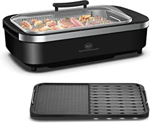 Indoor Smokeless Grill - CSS Electric Grill with Removable Griddle Plate, Non-stick Cooking Surface, LED Smart Control Panel, Tempered Glass Lid, Turbo Smoke Extractor Technology, 1400W, 15