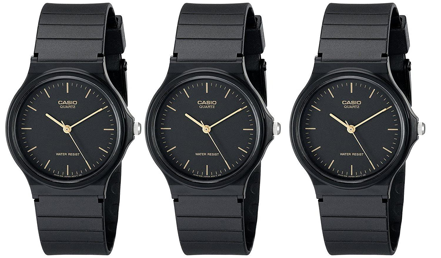 af920ffbf Amazon.com: Casio #MQ24-1E Men's Casual Black Resin Strap Analog Watch  (Special Package Deal 3 Watches): Watches
