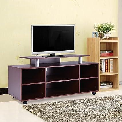 Gracelove Mobile TV Stand Entertainment Center Media Console Storage Cabinet  Furniture