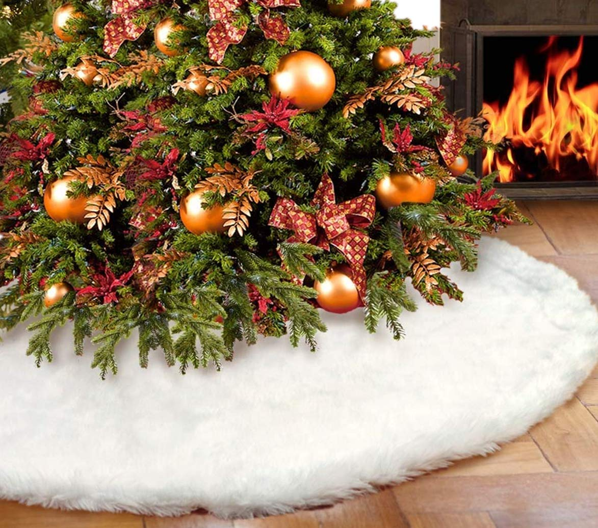 LICORNE Christmas Tree Skirts Plush Faux Fur Handmade Tree Skirt Decorations Indoor Outdoor Home Xmas Party Decor (30inch)