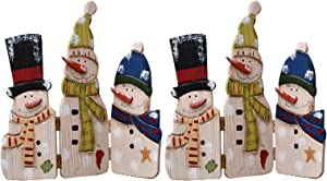 E-view Christmas Decorations Wood Snowman Sign Holiday Xmas Home Decor Wooden Folding Triple Snowmen Screen Rustic Decorative Ornaments for Table Top Fireplace (Snowman x 2)