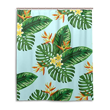 DXG1 Tropical Green Leaf Shower Curtain Set For Bathroom With Hooks Waterproof Fabric Long Bath Rings