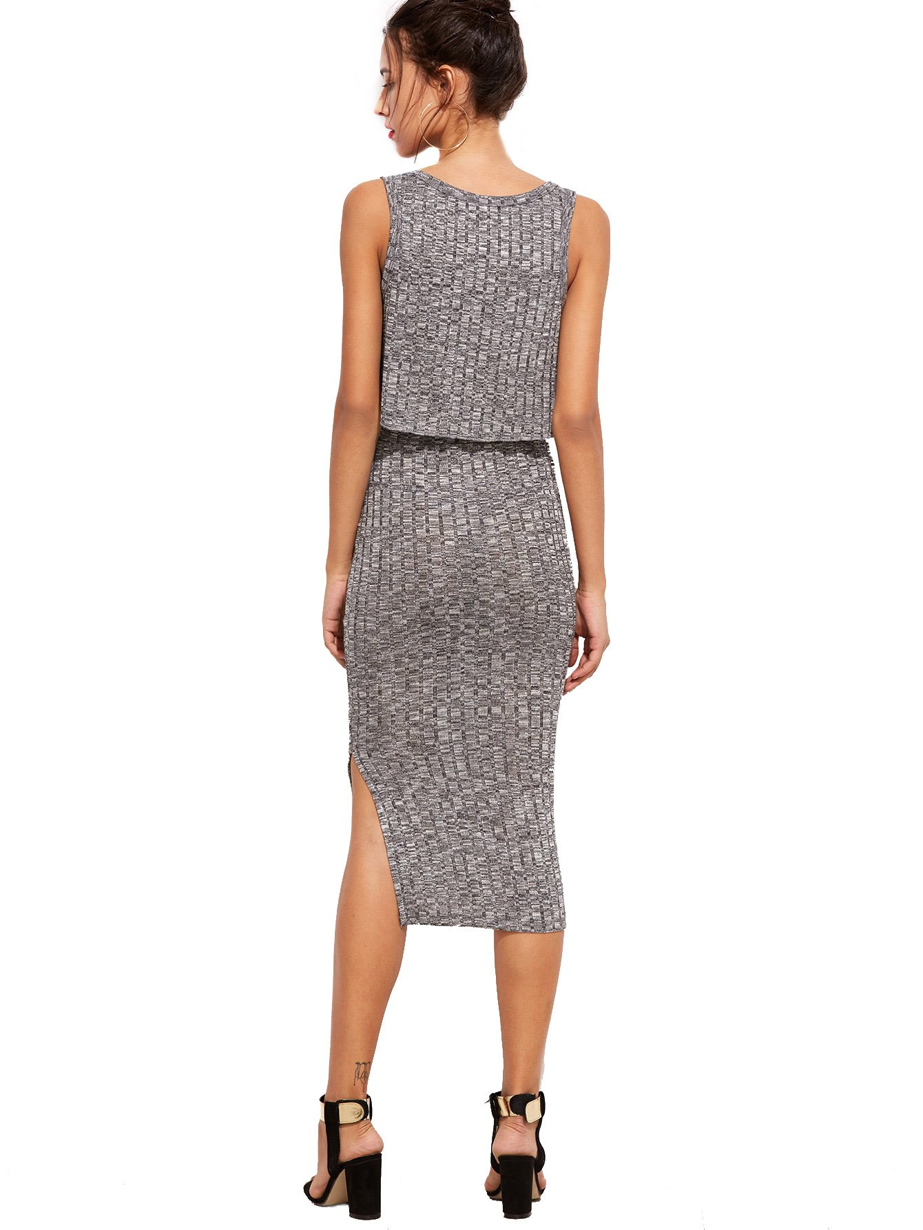 Romwe Women's 2 Piece Crop Tank Top with Skirt Set Sleeveless Bodycon Mini Dress 1-Gray Medium by Romwe (Image #2)