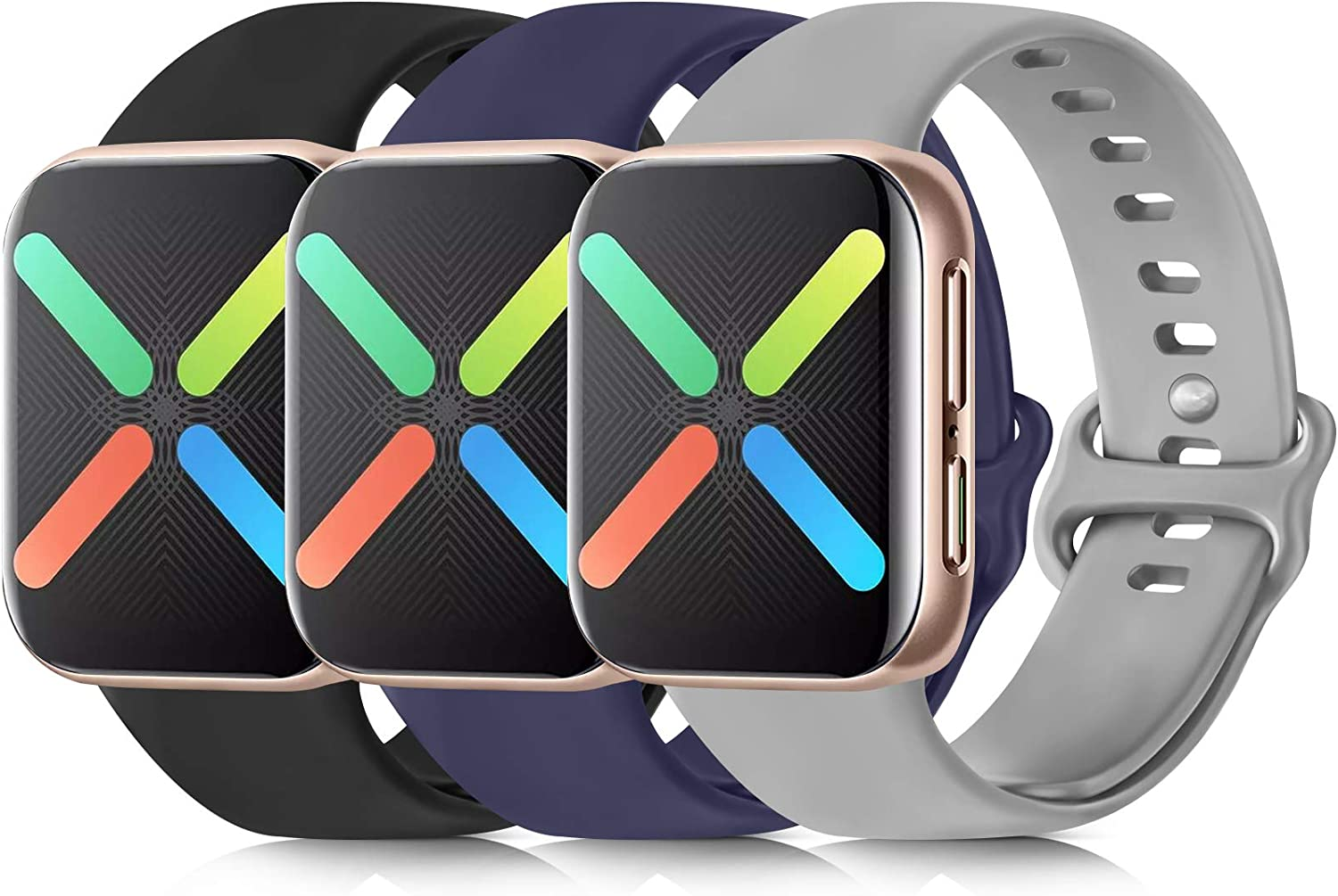 [3 Pack] Silicone Bands Compatible with Apple Watch Bands 38mm 40mm 42mm 44mm, Soft Wristbands Compatible with iWatch Bands (Black/Navy Blue/Gray, 42mm/44mm-M/L)