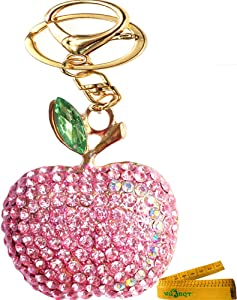 Bling Bling Crystal Rhinestone Graven 3D Cubic Apple Shaped Metal Keychain Car Phone Purse Bag Decoration Holiday Gift (Pink)