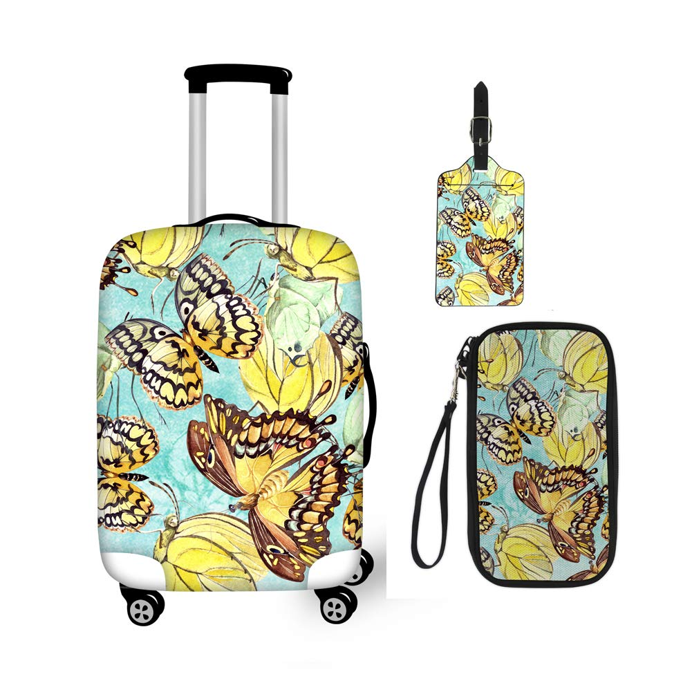 BIGCARJOB Floral Print Suitcase Protect Covers,Tag,Passport Wallet 3pcs Sets Vintage Style Zipper Closer Elastic Travel Cover