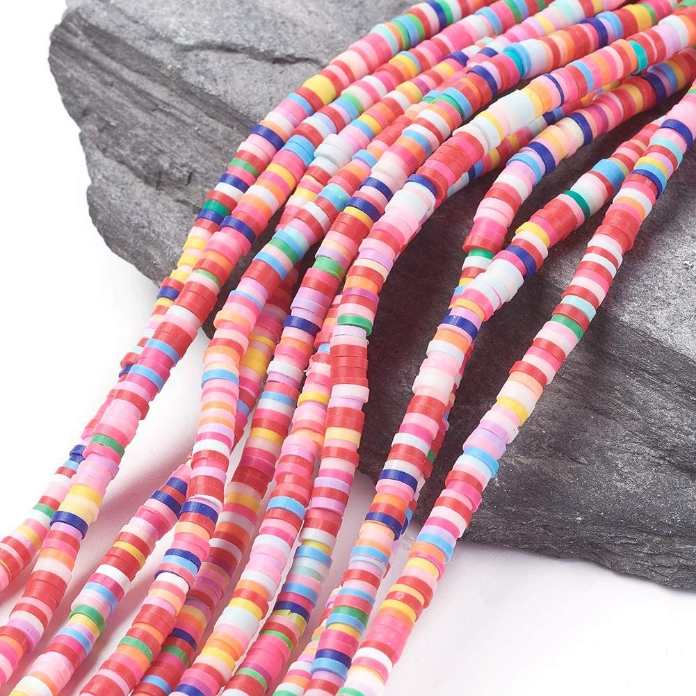 400pcs//Strand Flat Disc Polymer Clay Loose Spacer Beads for DIY Jewelry Making