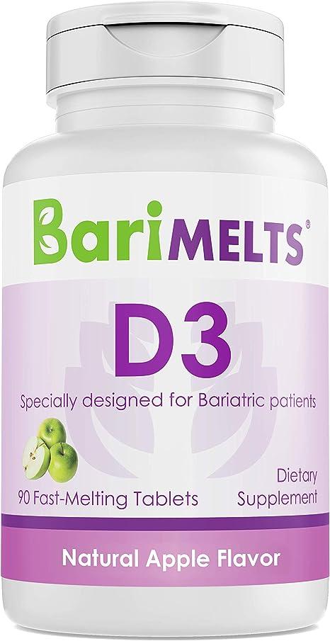 BariMelts D3, Dissolvable Bariatric Vitamins, Natural Apple Flavor, 90 Fast Melting Tablets
