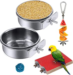 Hamiledyi 5PCS Cockatiel Feeding Dish Cups Stainless Steel Bird Feeders Water Cage Bowls with Clamp Holder with Fruit Skewer Holder Perch Chew Ball for Parakeet Lovebird Conure Budgie Chinchilla