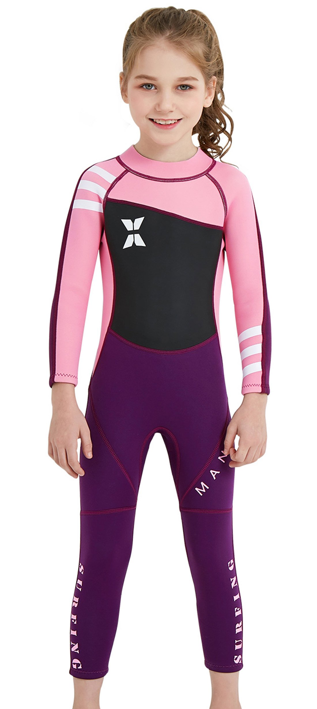 DIVE & SAIL Girls Wetsuit Warm 2.5mm Neoprene Long Sleeve Swimsuit Sun Protection One Piece Swimsuit Sun Suit for Kids Pink XXL by DIVE & SAIL