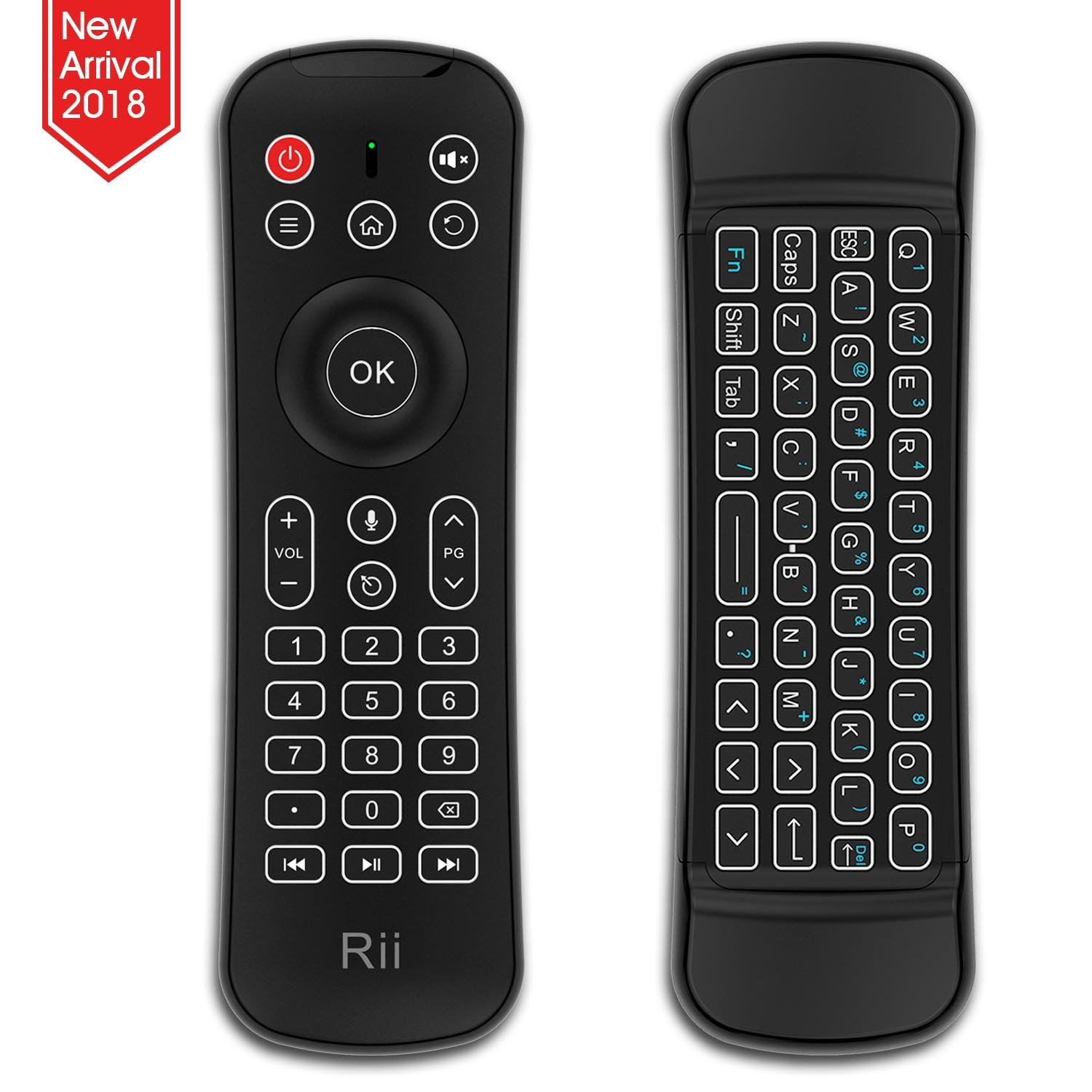 Rii Backlit Fly Mouse 2.4G MX6 Multifunctional Wireless Mini Keyboard and Remote Control With Microphone For KODI,Raspberry Pi 2,3, Android TV/Box/Mini PC,IPTV,HTPC,Android,Windows,MAC by Rii (Image #1)