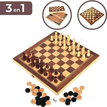 Set de Ajedrez, Damas y Backgammon. Tablero de madera plegable, 34*34cm. Juego de mesa portátil y ligero, ideal para viajar. Entretenimiento para niños y adultos: Amazon.es: Juguetes y juegos
