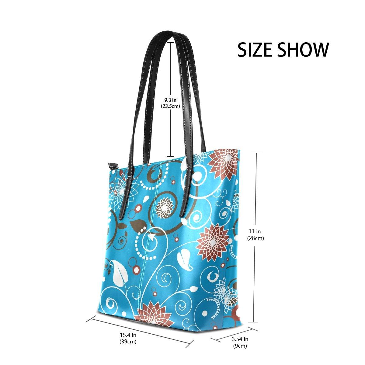 Womens Leather Top Handle Shoulder Handbag Abstraction Large Work Tote Bag