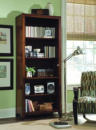 hooker furniture danforth tall bookcase in rich medium brown