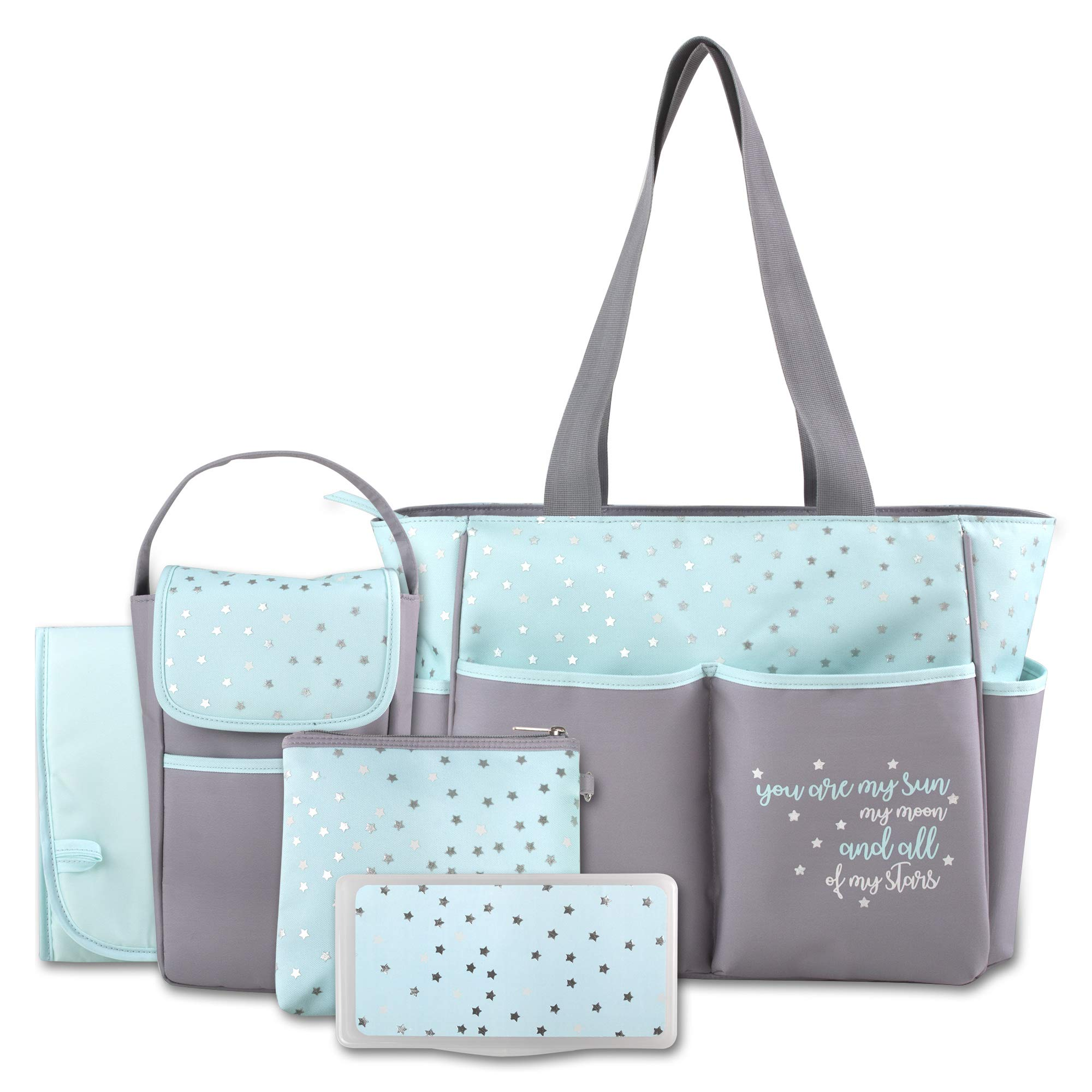 Diaper Bag Tote 5 Piece Set with Sun, Moon, and Stars, Wipes Pocket, Dirty Diaper Pouch, & Changing Pad by Tender Kisses