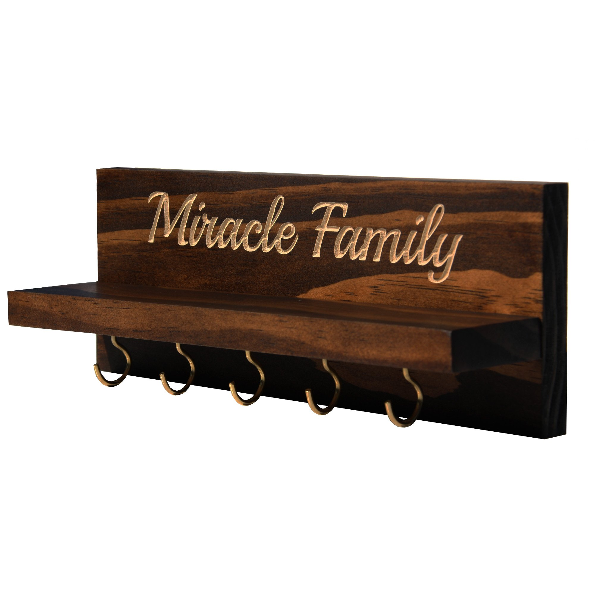 Personalized Wall Mounted Key Holder - Key Rack Holder - Solid Wood