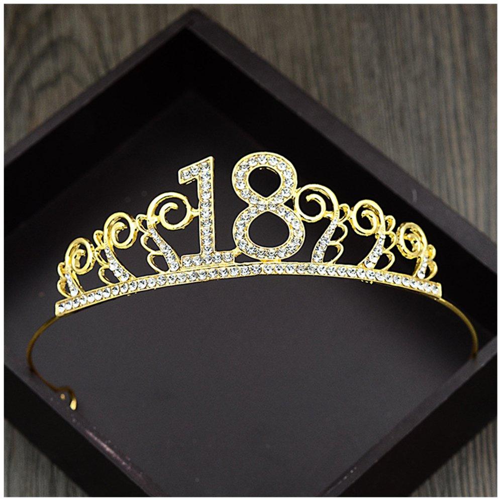 Xiwstar Crystal Tiara Birthday Crown Princess Crown Hair Accessories Diamante Rhinestone Happy 18th Birthday Hair Crown (Gold)