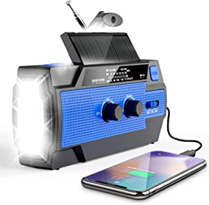 Emergency Crank Radio, Esky 4000mAh Solar Hand Crank Portable AM/FM/NOAA Weather Radio with 1W Flashlight & Motion Sensor Reading Lamp&Cell Phone Charger, SOS Alarm for Home and Emergency