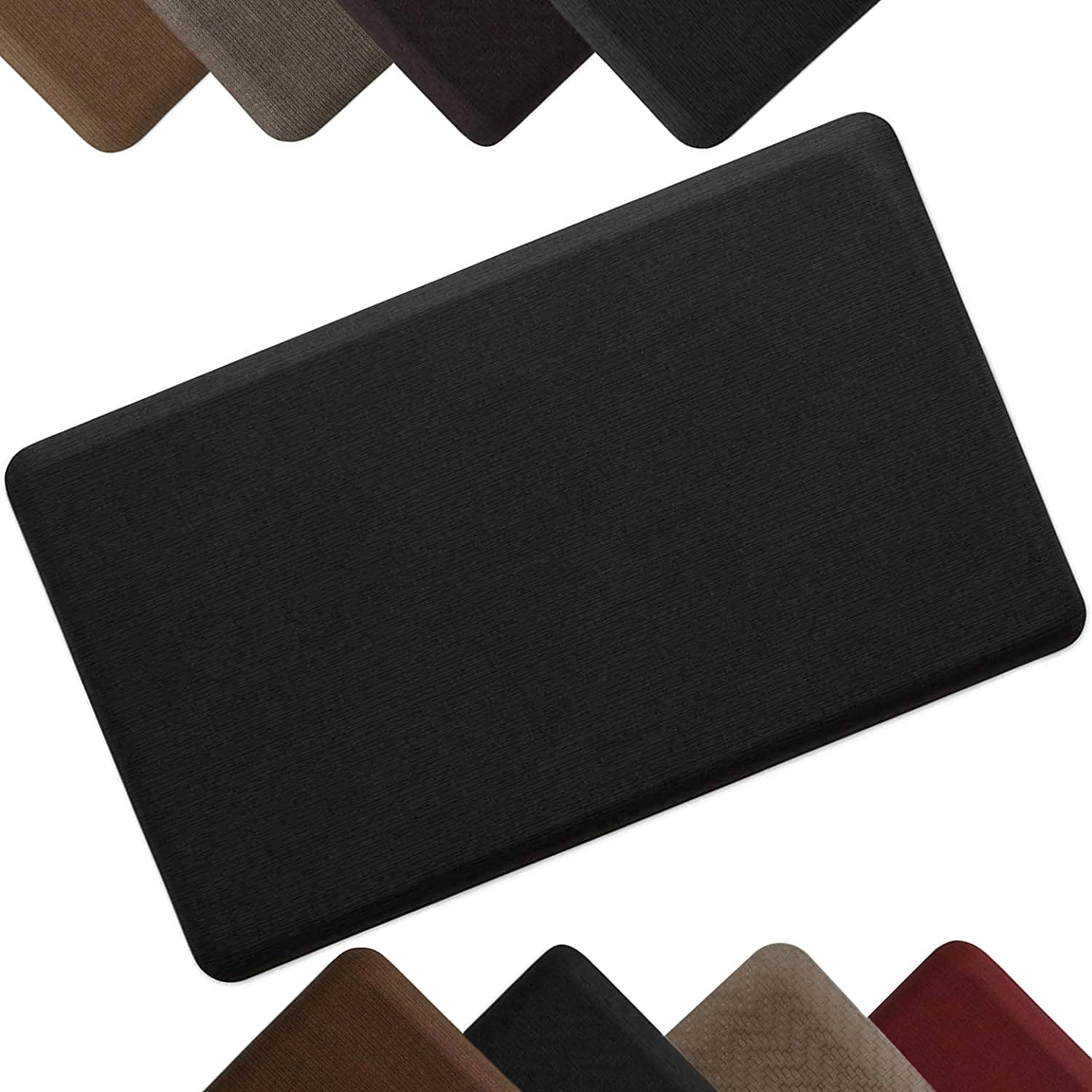 """NewLife by GelPro Anti-Fatigue Designer Comfort Kitchen Floor Mat Stain Resistant Surface with 5/8"""" thick ergo-foam core for health and wellness,18x30 Grasscloth Charcoal"""