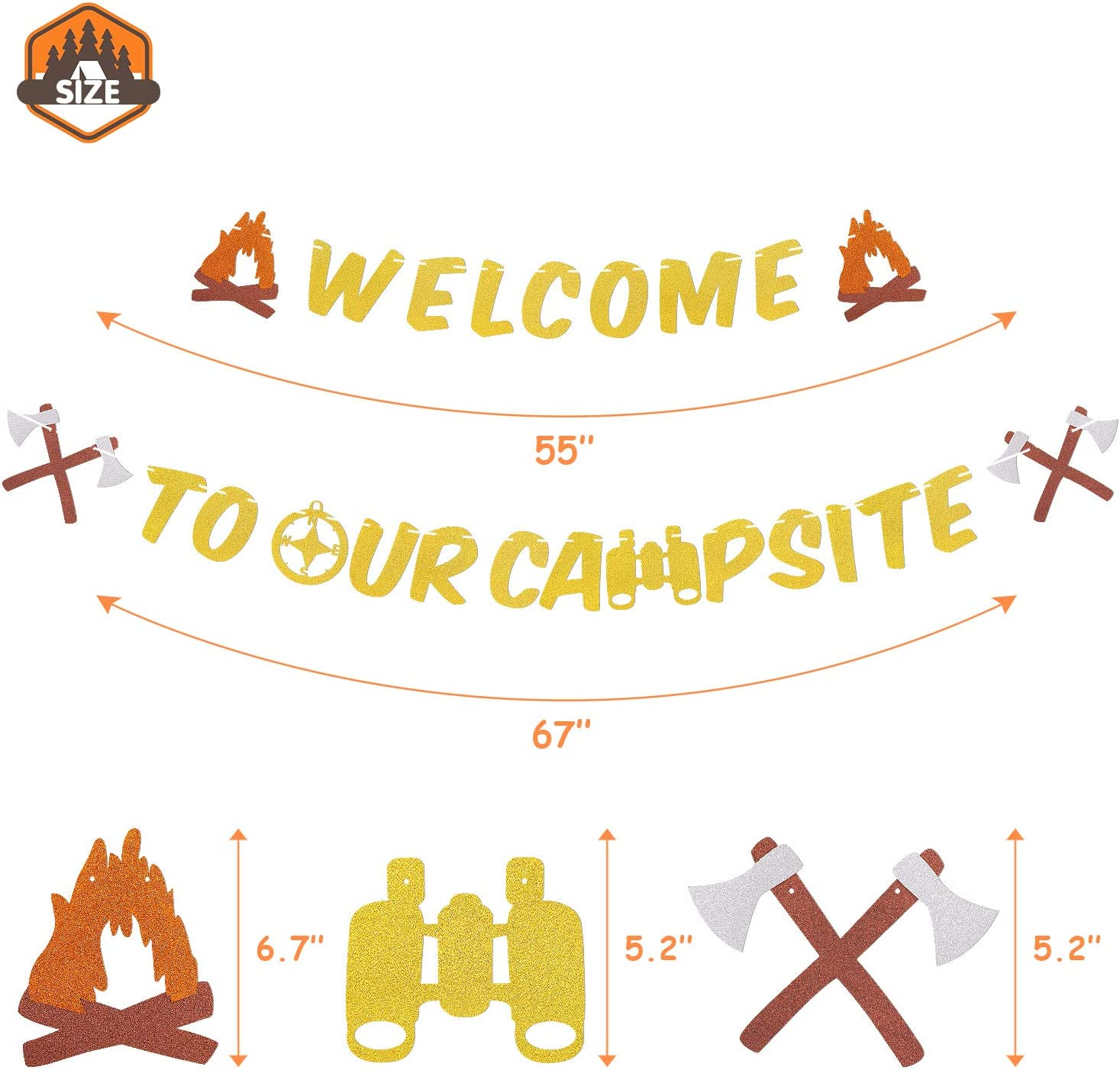 Welcome to Our Campsite Banner Sign Camping Themed Home Garden House Yard Flag Happy Retirement Birthday Baby Shower Party Supplies Gold Glitter Decorations-PRESTRUNG