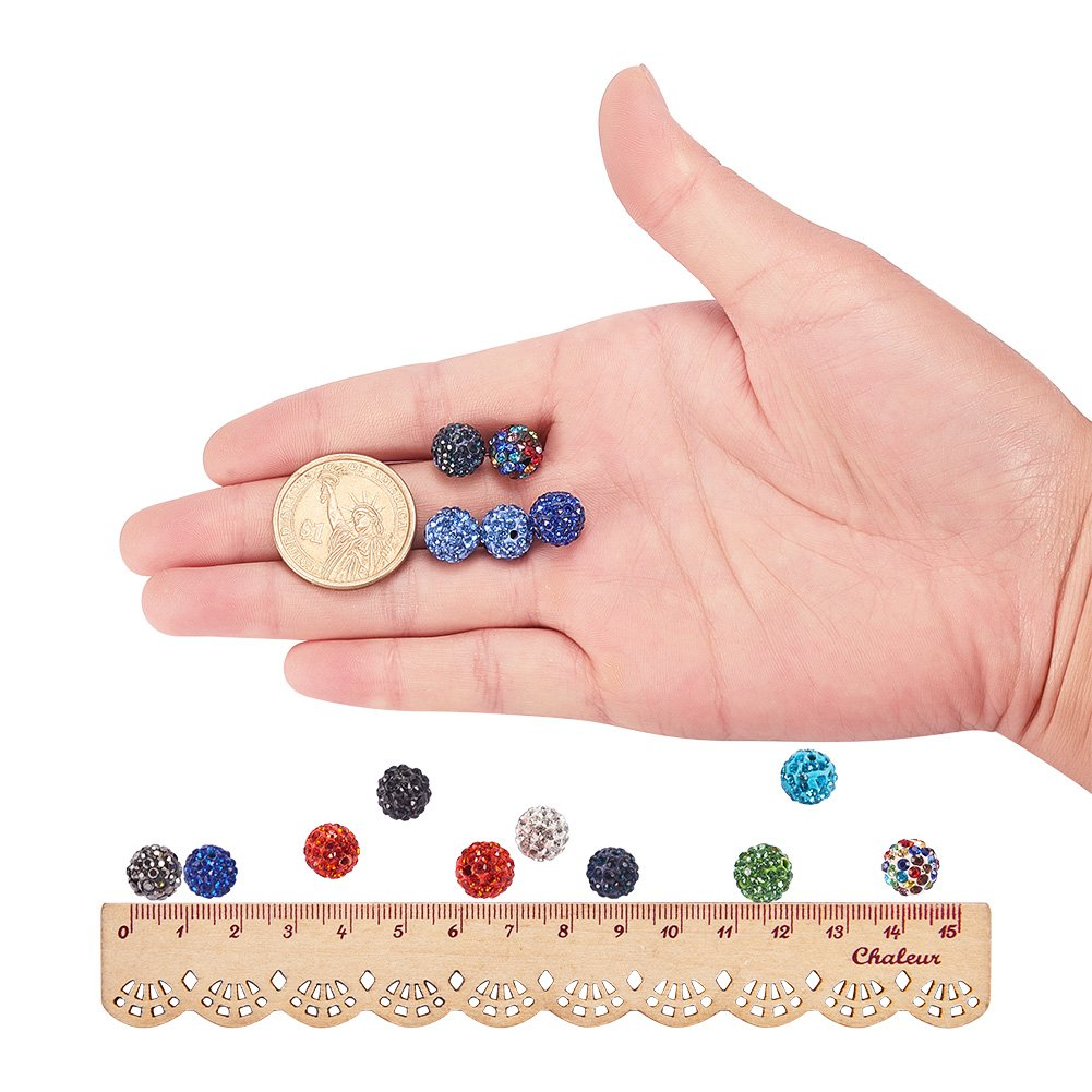 PH PandaHall 10mm 100Pcs Disco Ball Clay Beads Mixed Colors Pave Glass Rhinestones Spacer Round Beads fit Bracelet Necklace