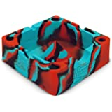 Black/Red/Blue Beamer Silicone Premium AshTray w/ Glass Friendly Tapping Center Unbreakable Shatter / Heat Resistant up to 570°F! Holds cigarettes Blunts Most Cigars Cigarillo Lighters Rolling Paper